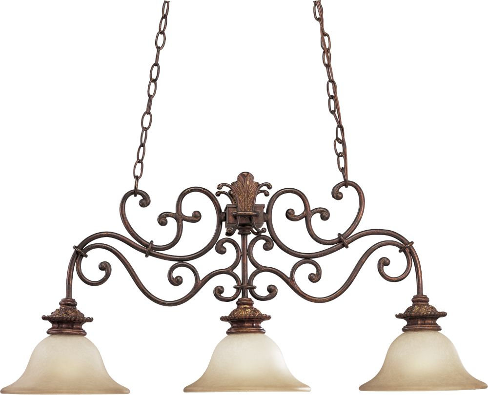 Messina Collection Aged Mahogany 3-light Chandelier