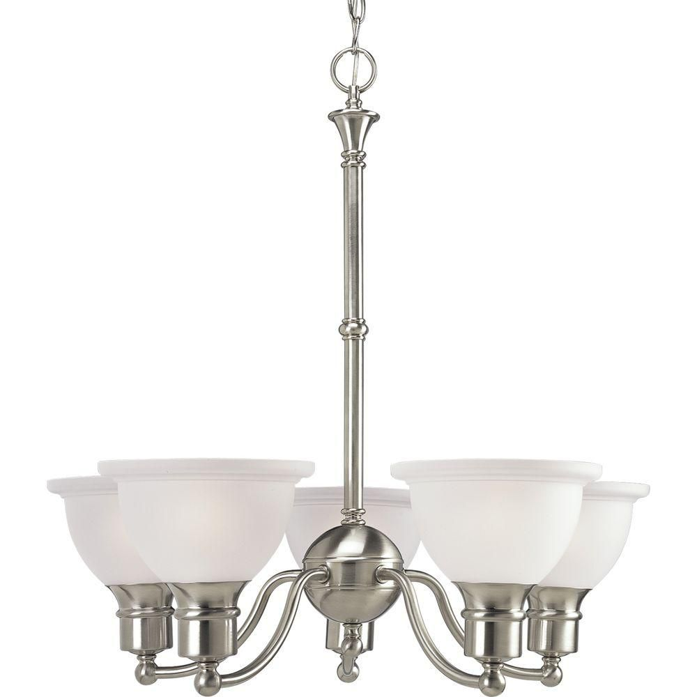 Lustre à 5 Lumières, Collection Madison - fini Nickel Brossé