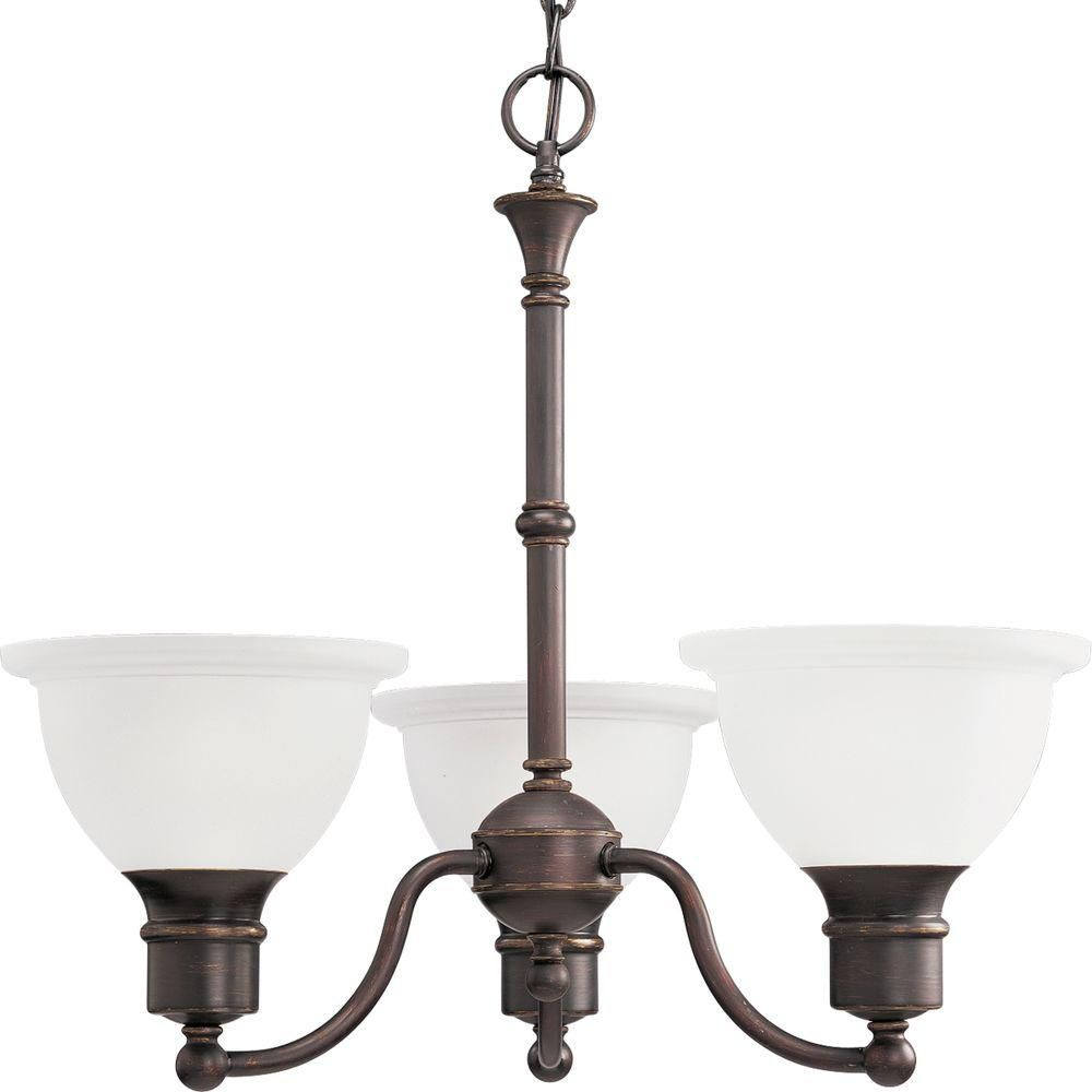 Lustre à 3 Lumières, Collection Madison - fini Bronze à l'Ancienne