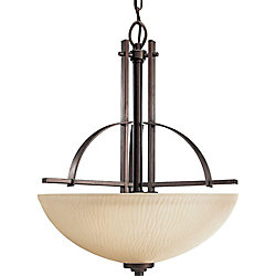 Progress Lighting Riverside Collection 3-Light Heirloom Foyer Pendant with Etched Topaz Glass