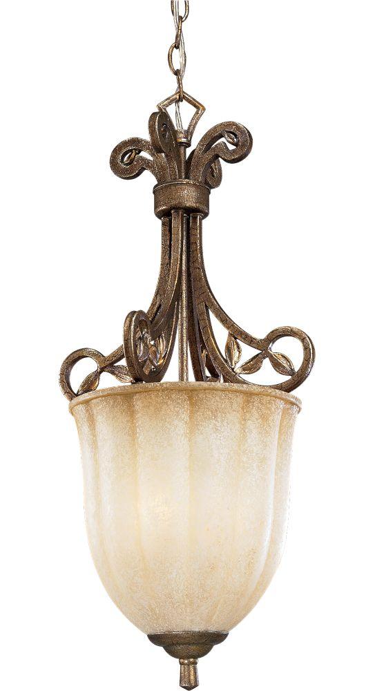 Lustre à 1 Lumière, Collection Le Jardin - fini Craquelure de Biscaye