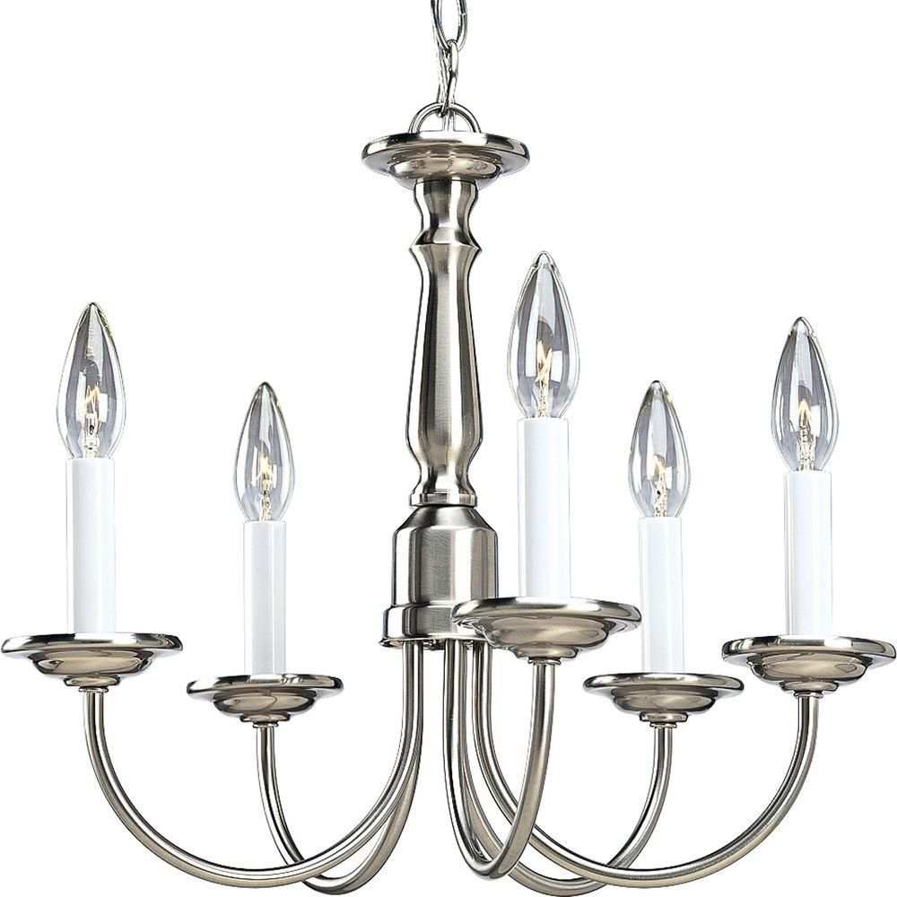 Progress lighting brushed nickel 5 light chandelier the home depot canada - Can light chandelier ...