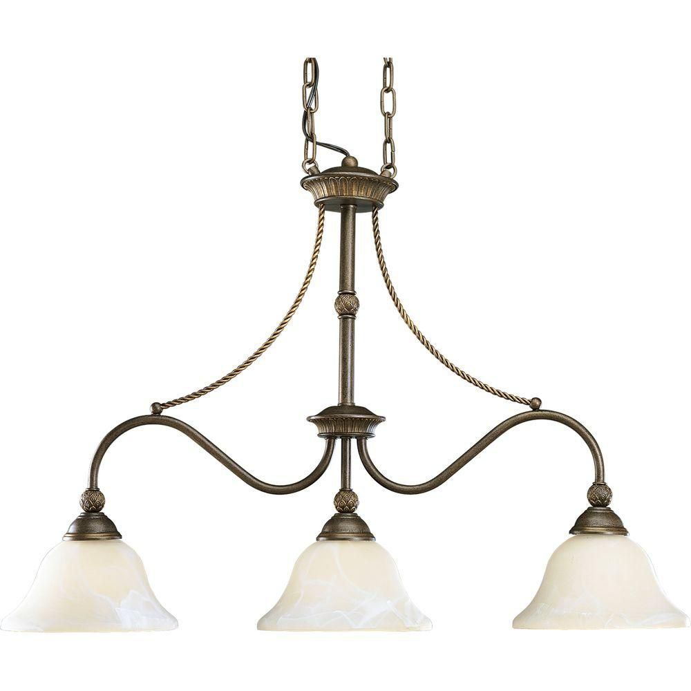 Savannah Collection Burnished Chestnut 3-light Chandelier