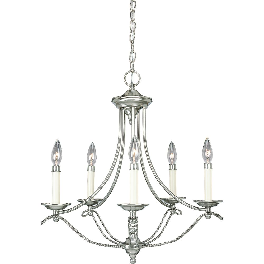 Progress Lighting Avalon Collection Brushed Nickel 5 Light Chandelier The Home Depot Canada