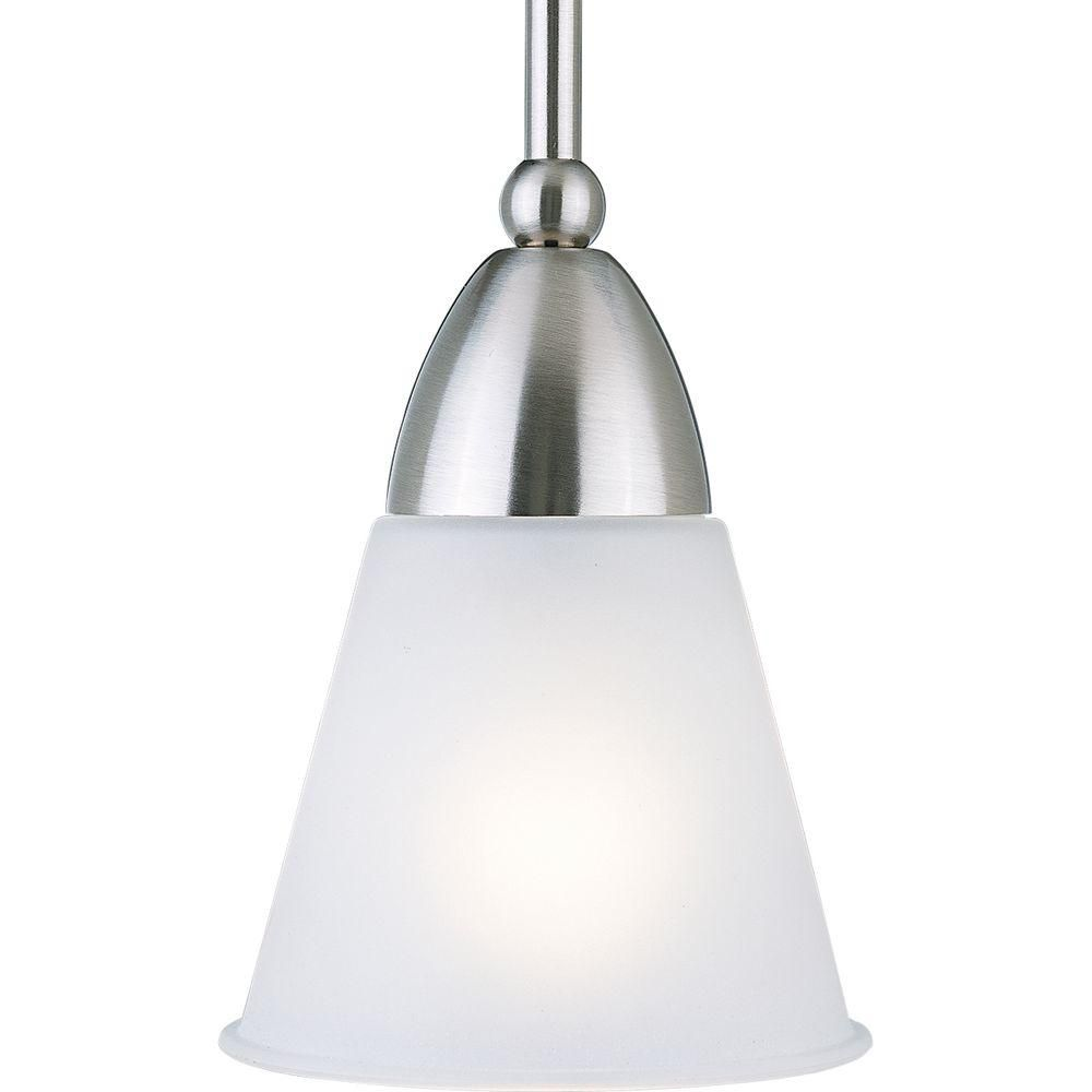 Progress Lighting 1-Light 100W Brushed Nickel Etched Glass Pendant