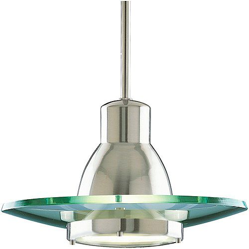 Progress Lighting 75W 1-Light Brushed Nickel Mini Pendant with Clear Glass