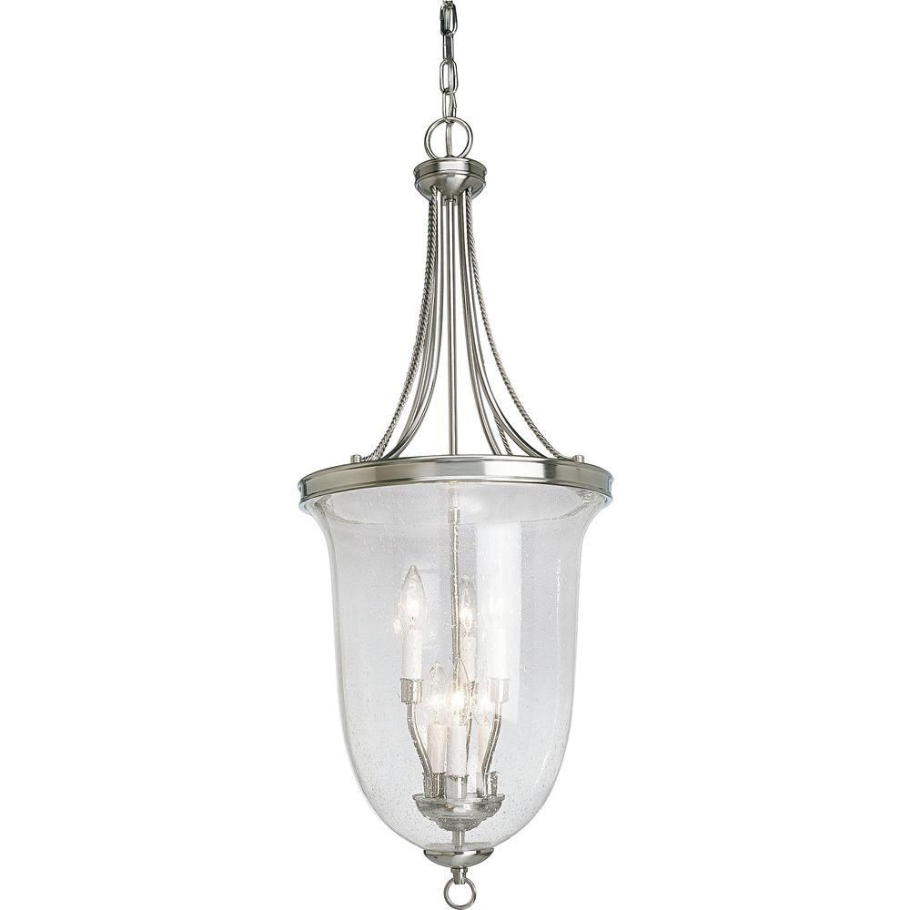 Foyer Chandelier Home Depot : Progress lighting brushed nickel light foyer pendant