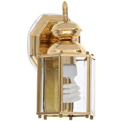 Progress Lighting Brass Guard Collection 5.5 Inch Polished Brass Outdoor Wall Lantern