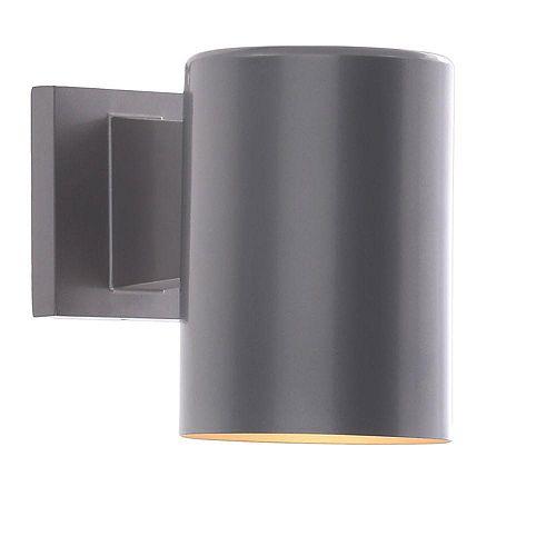 Progress Lighting Cylinder Collection 1-Light Metallic Grey Outdoor Wall Lantern
