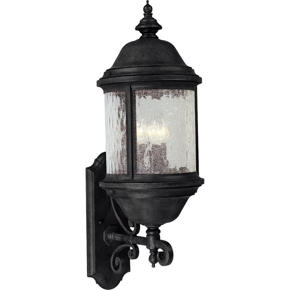 Ashmore Collection Textured Black 3-light Wall Lantern