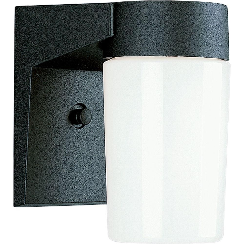 100W 1-Light Black Finish White Opal Glass Outdoor Wall Lantern