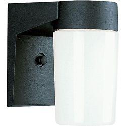 Progress Lighting 100W 1-Light Black Finish White Opal Glass Outdoor Wall Lantern