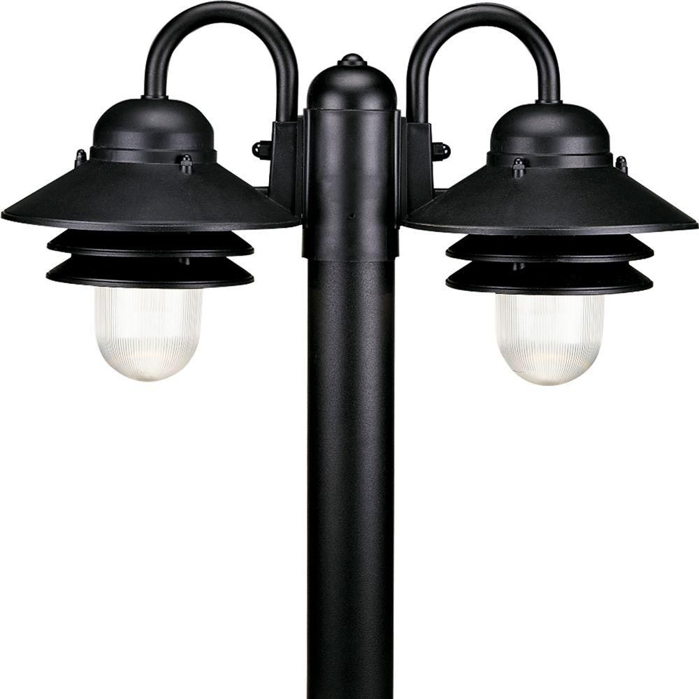 Newport Collection Textured Black 2-light Post Lantern