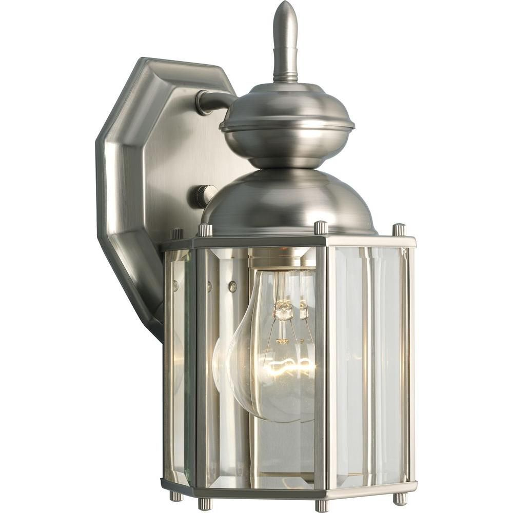 BrassGUARD Collection Brushed Nickel 1-light Wall Lantern