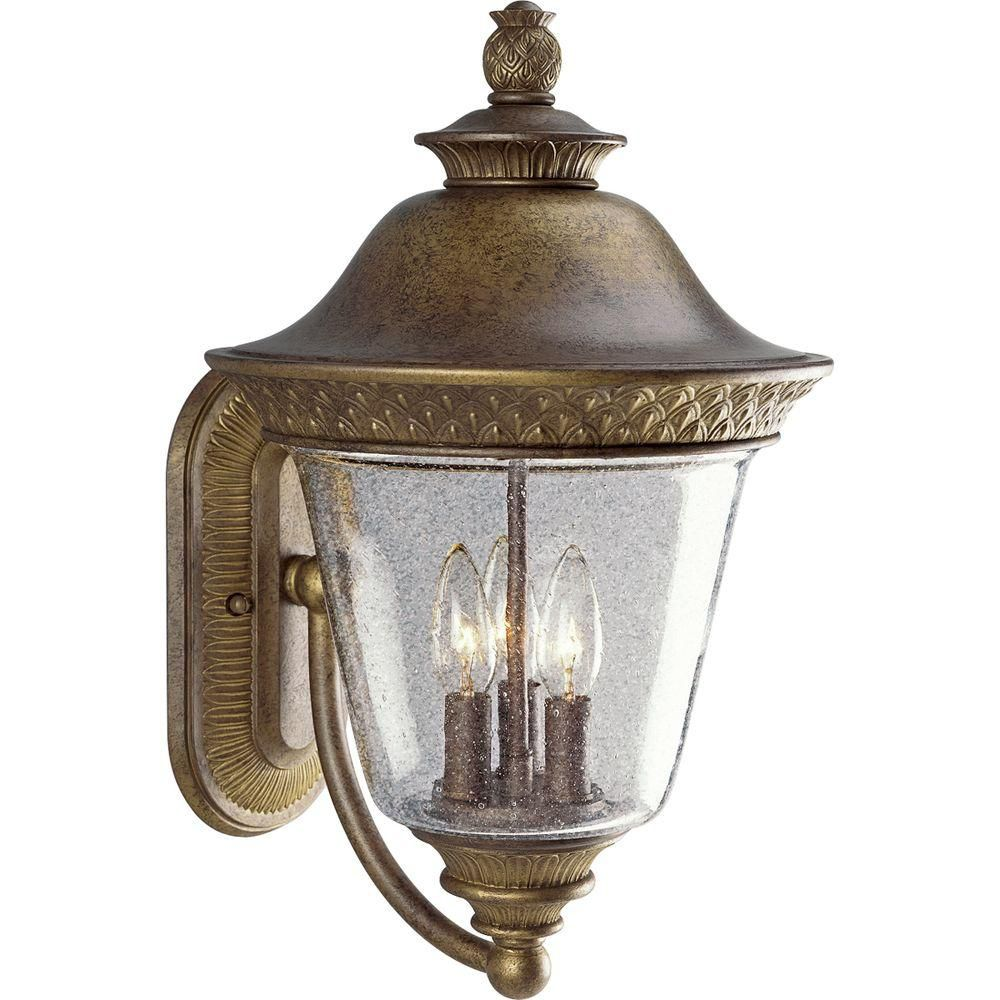 Savannah Collection Burnished Chestnut 3-light Wall Lantern