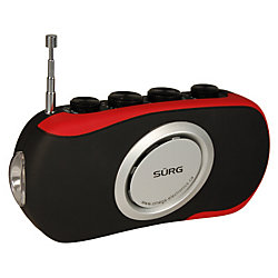 SURG Self Powered AM/FM Radio with LED Flashlight