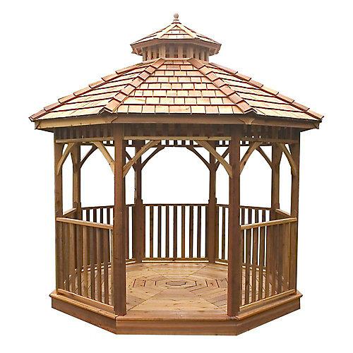 Pavillon de jardin octogonal prédécoupé Bayside - 10 pieds