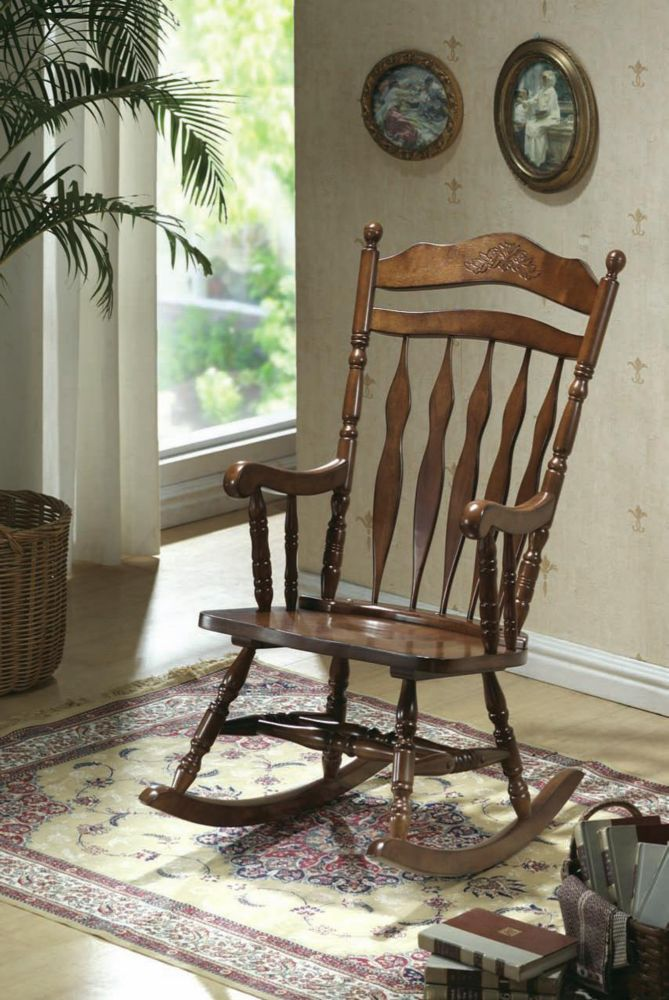 Dark Walnut Embossed Back Rocking Chair