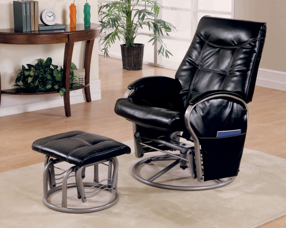 Monarch Specialties Black Polyurethane Silver Metalglider Rocker & Ottoman