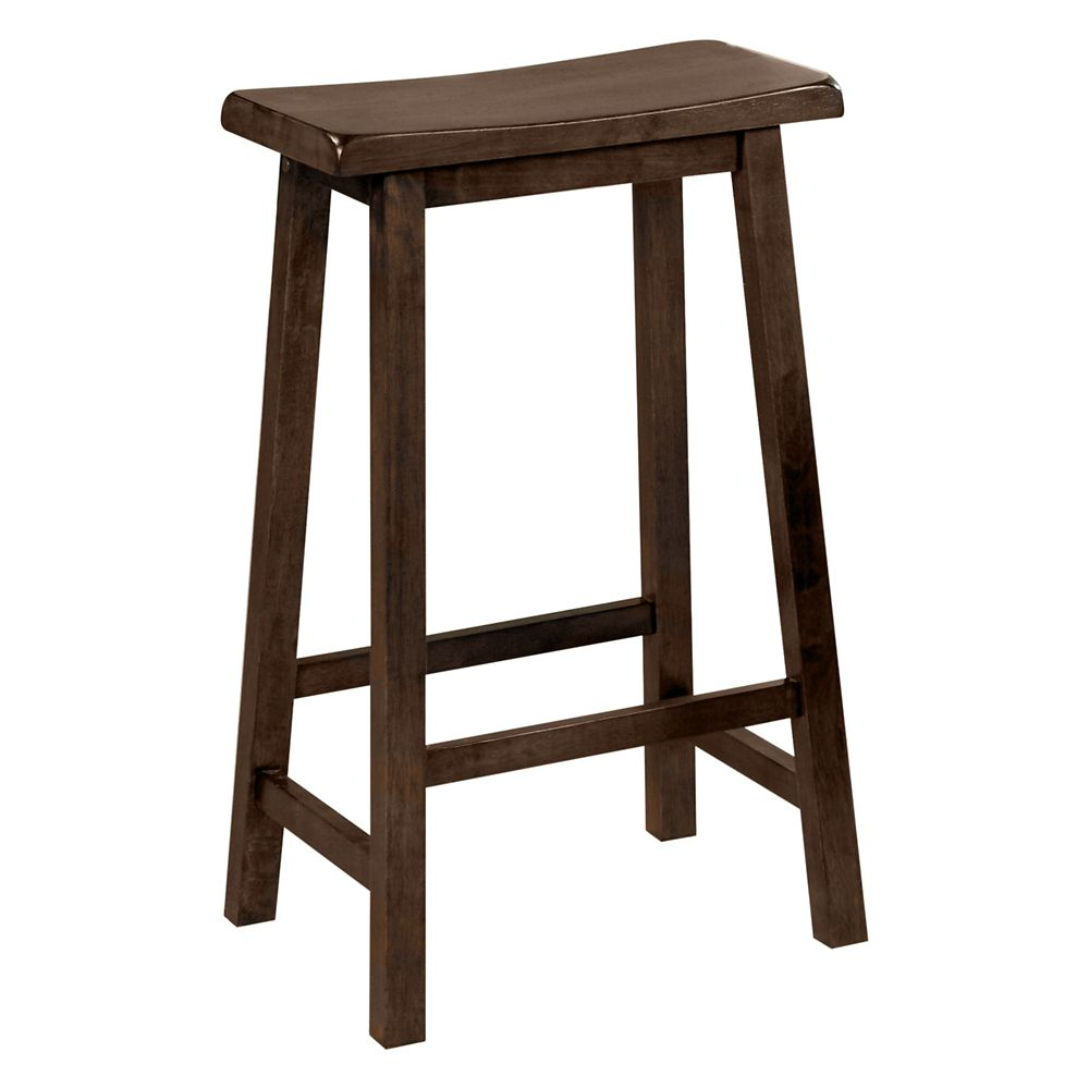 "Barstool - 2Pcs / 29""H / Walnut Saddle Seat"