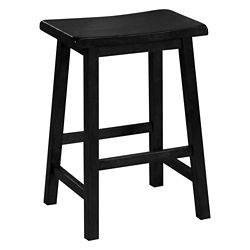Monarch Specialties Barstool / 24 Inch H / Black Saddle Seat (Set of 2)