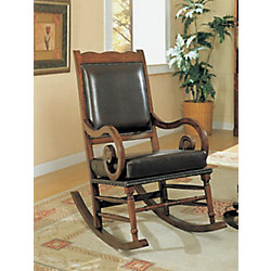 Monarch Specialties Dark Brown Leather Traditional Rocking Chair