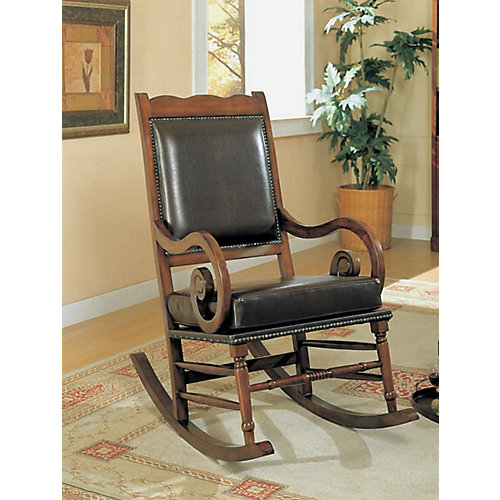 Dark Brown Leather Traditional Rocking Chair