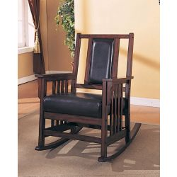 Monarch Specialties Dark Oak Rocker With Leather Seat And Back