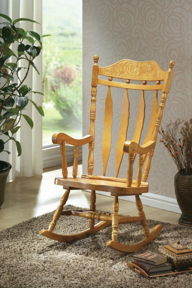 Monarch Specialties Light Oak 45 In. High Rocking Chair