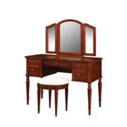 Powell Warm Cherry Vanity - With Mirror And Stool