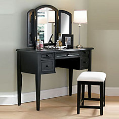 Antique Black with Sand Through Terra Cotta Vanity, Mirror & Stool