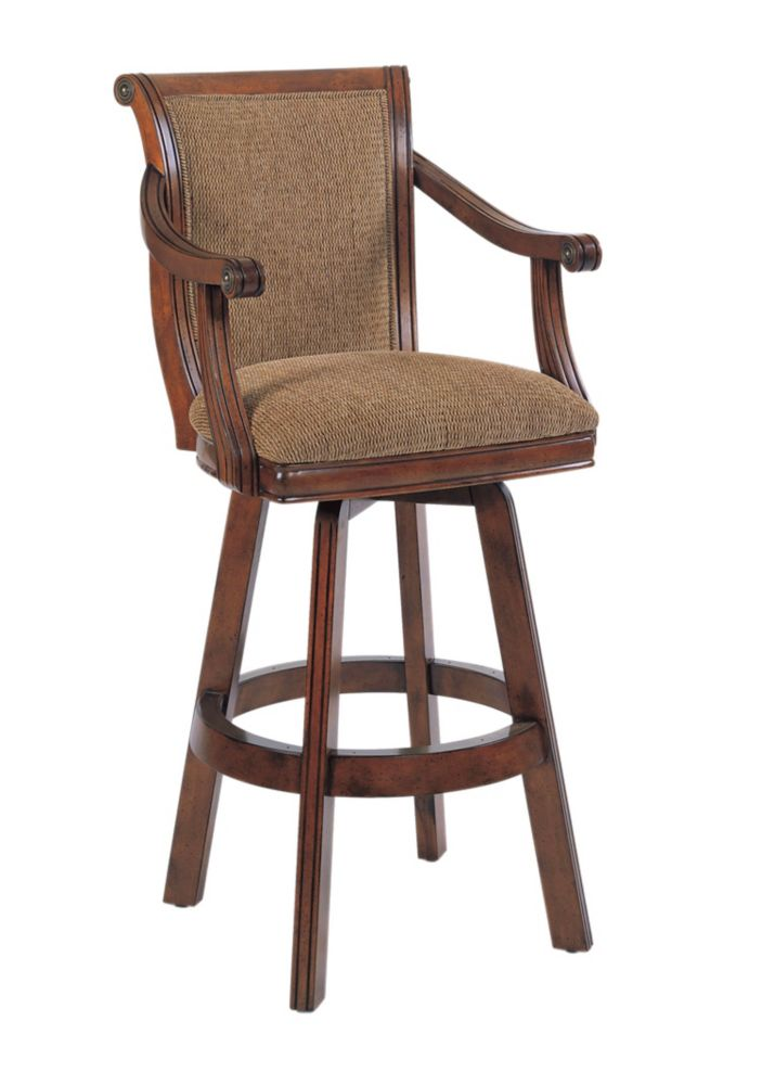 Brandon Warm Cherry Swivel Bar Stool, 30 Seat Height