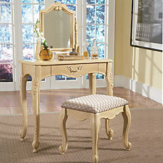 Hills of Provence Antique White Vanity, Mirror & Bench