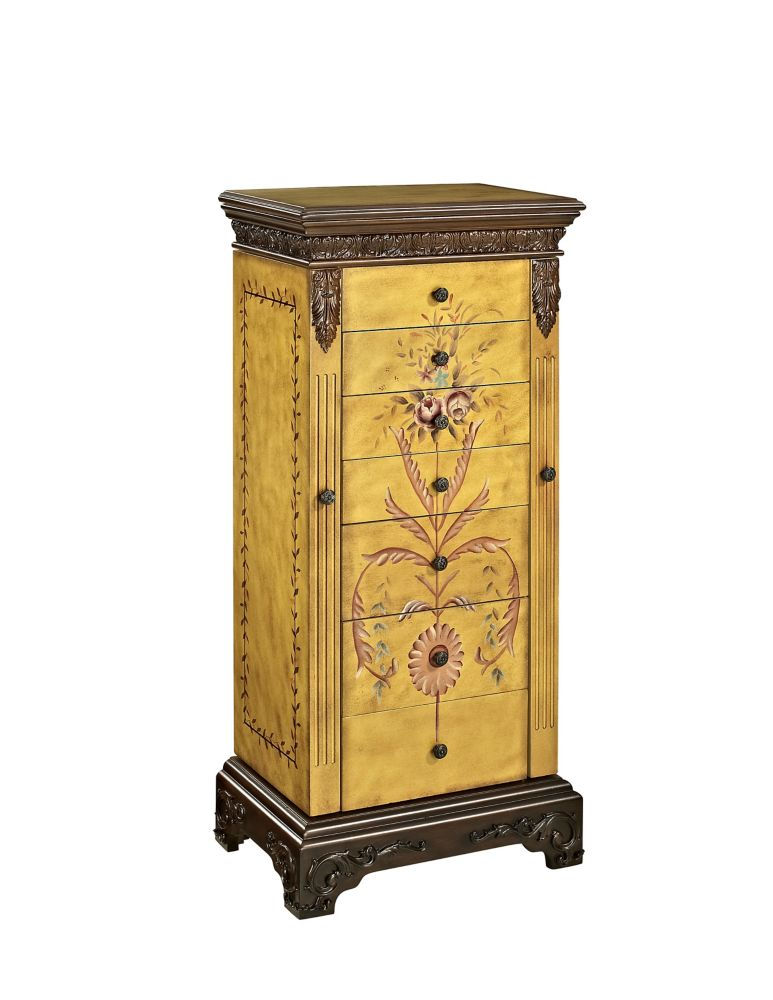 Masterpiece Antique Parchment Hand-Painted Jewelry Armoire