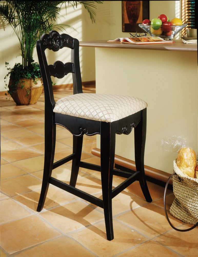 Hills Of Provence Antique Black over Terra Cotta Counter Stool, 24 Seat Height