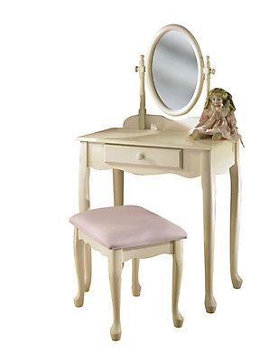 Powell Ensemble de coiffeuse blanc cassé avec miroir et banc   Home ...
