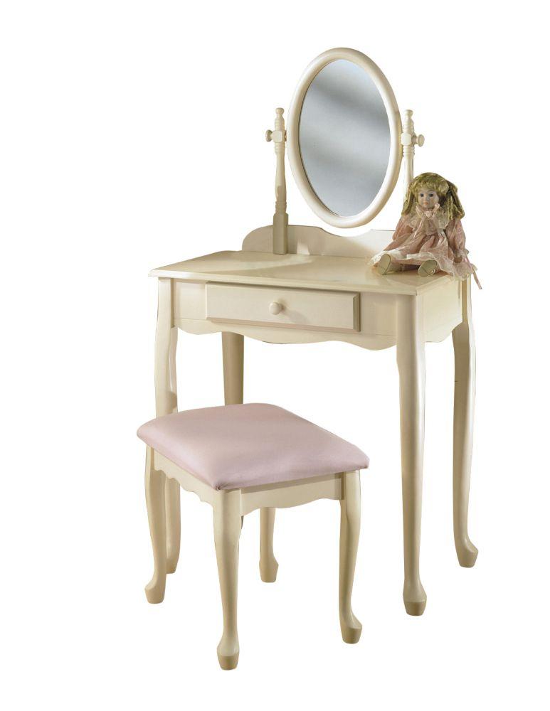 Ensemble de coiffeuse blanc cassé avec miroir et banc