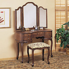 Toscana Antique Caramel Hand Painted Vanity, Mirror and Bench