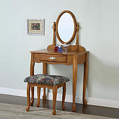 Nostalgic Oak Vanity, Mirror and Bench