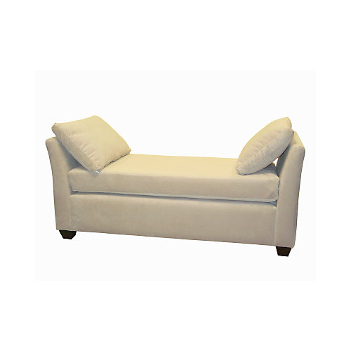 Velvet Backless Chaise Lounge in Pearl