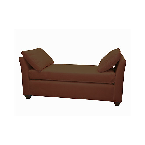 Velvet Backless Chaise Lounge in Chocolate