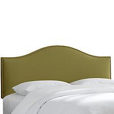 Tête de lit capitonnée taille King de couleur sauge en microsuède