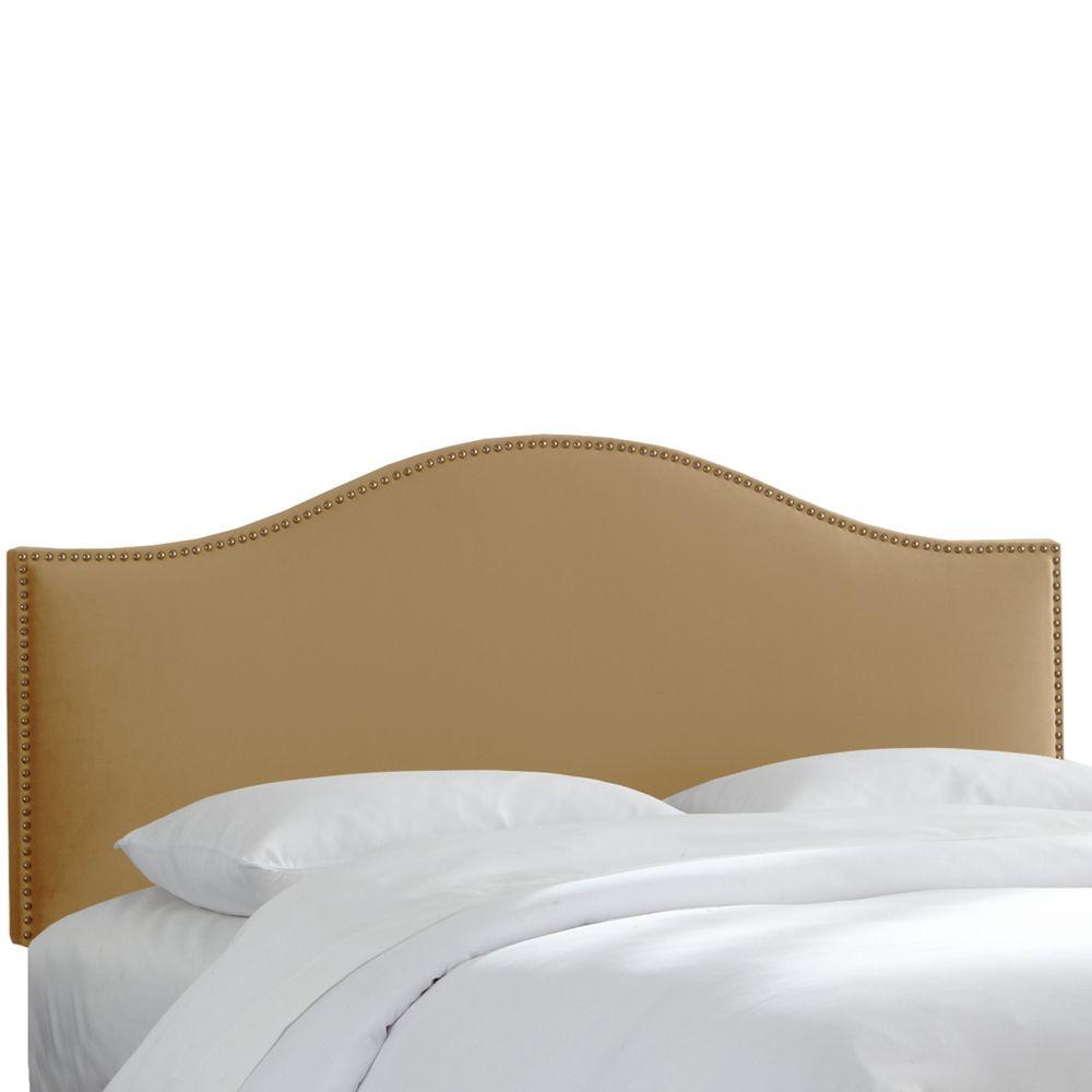 King Size Upholstered Headboard in Tan Microsuede