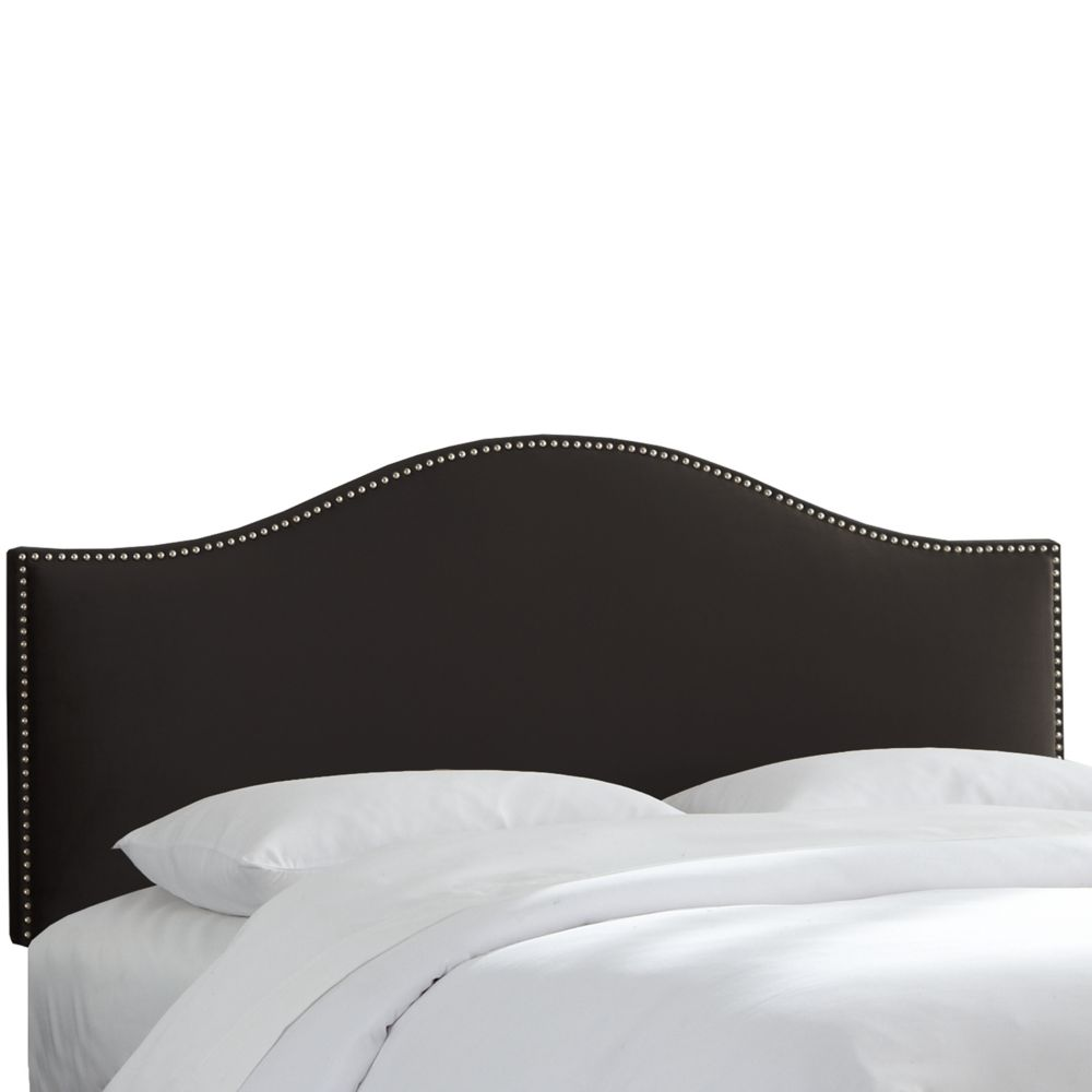 Queen Size Upholstered Headboard in Black Microsuede