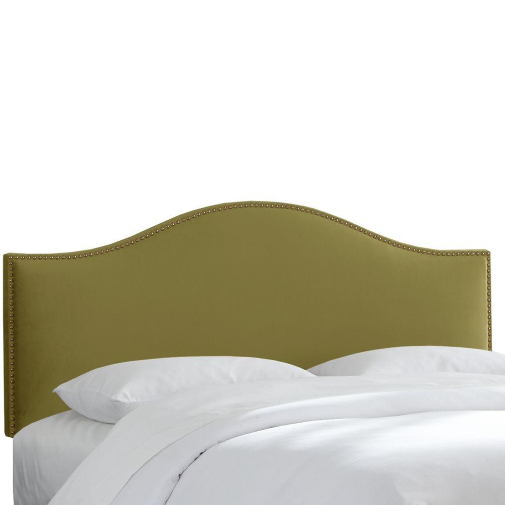 Tête de lit capitonnée pleine grandeur couleur sauge en microsuède