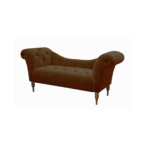Velvet Chaise Lounge in Chocolate