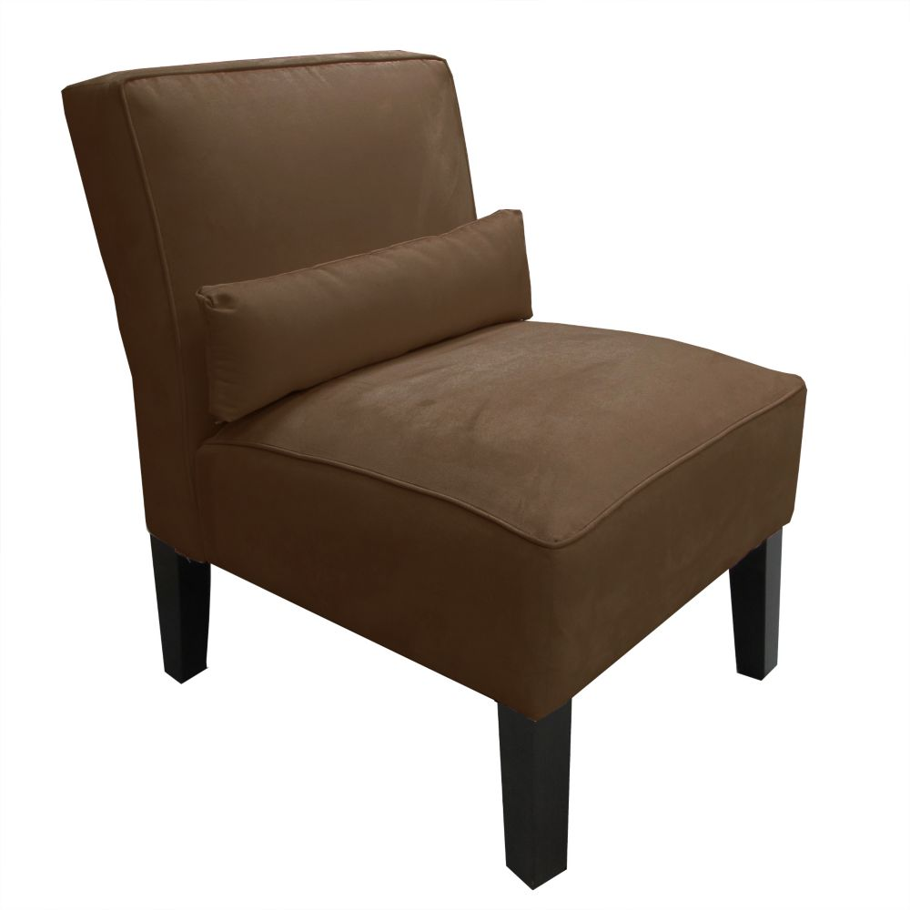 Armless Chair In Premier Microsuede Chocolate