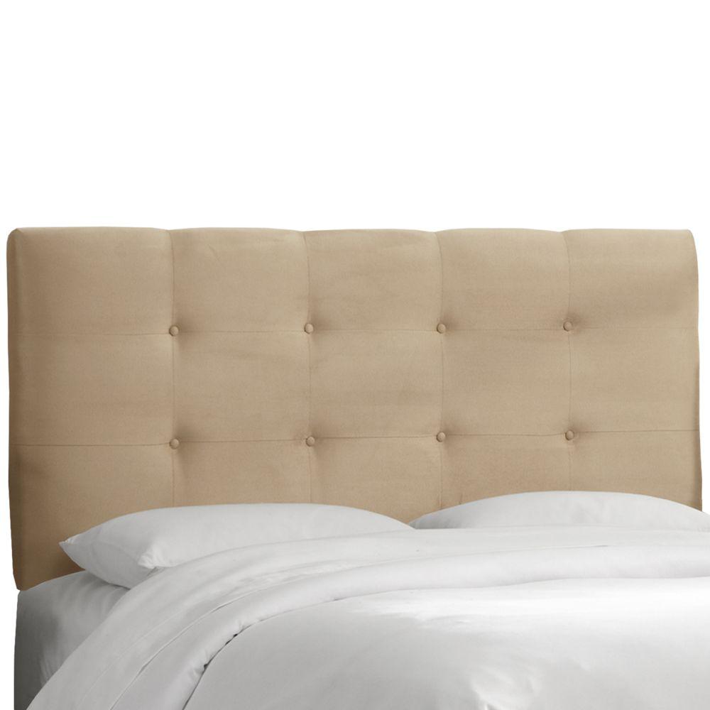 Dossier rembourré pour très grand lit, en microsuède de première qualité, ton avoine