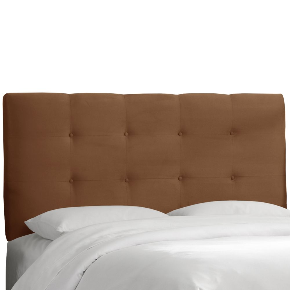 Upholstered Queen Headboard, Premier Microsuede, Chocolate