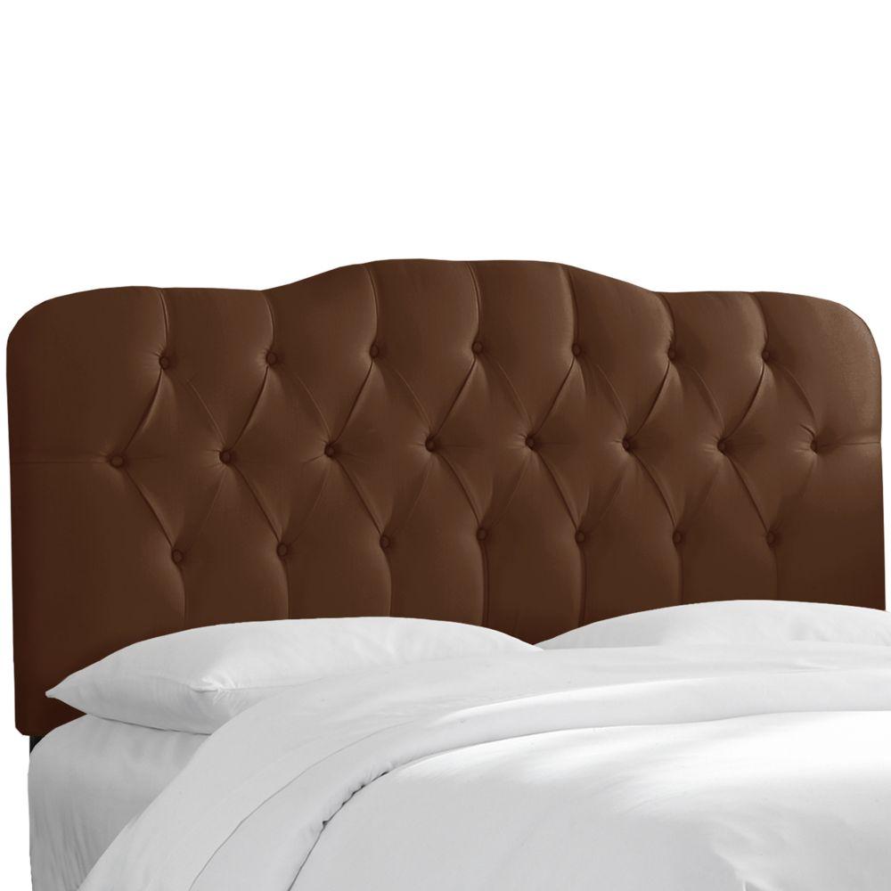 Upholstered Queen Headboard, Shantung, Chocolate